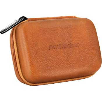 AmRocker Earbud Case PU Leather Hard Carrying Holder For EarbudsEarphonesUSB Charger CableU disk