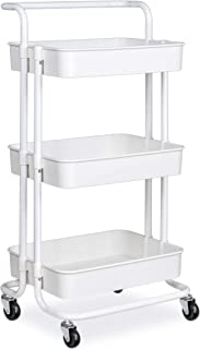 alvorog 3-Tier Rolling Utility Cart Storage Shelves Multifunction Storage Trolley Service Cart with Mesh Basket Handles and Wheels Easy Assembly for Bathroom, Kitchen, Office (White)