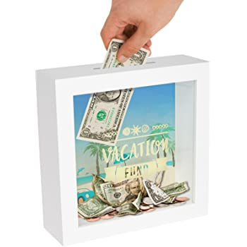"""Americanflat Vacation Fund Shadow Box Frame in White with Polished Glass for Wall and Tabletop - 6"""" x 6"""""""