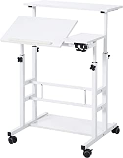 UNICOO- Height Adjustable Sit Stand Workstation, Mobile Standing Desk, Rolling Presentation Cart, Stand Up Computer Desk with Dual Surface for Home Office U101 (White)