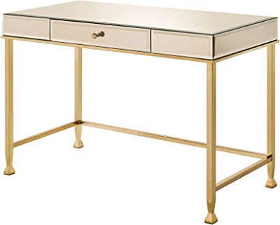 Acme Furniture Canine Writing Desk, Smoky Mirroed and Champagne Finish
