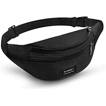 LUZWAY Bum Waist Bag 3 Pockets//Adjustable Belt of 120cm Waterproof PVC Coated Nylon Fabric Travel Hiking Outdoor Sport Bum Bag Holiday Money Hip Pouch for Men Women
