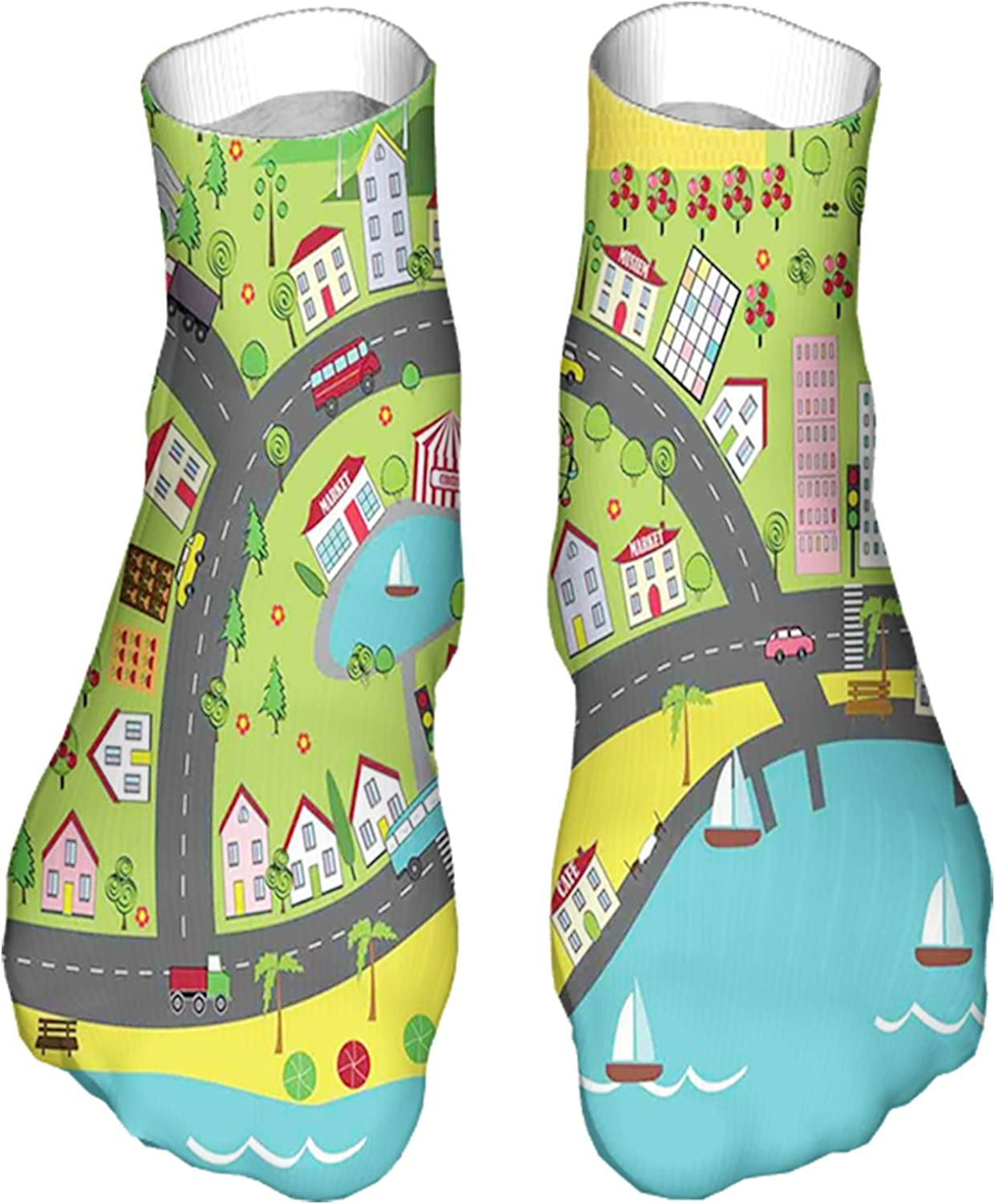 Women's Colorful Patterned Unisex Low Cut/No Show Socks,Landscape of Urban and Suburbs with Colorful City Elements