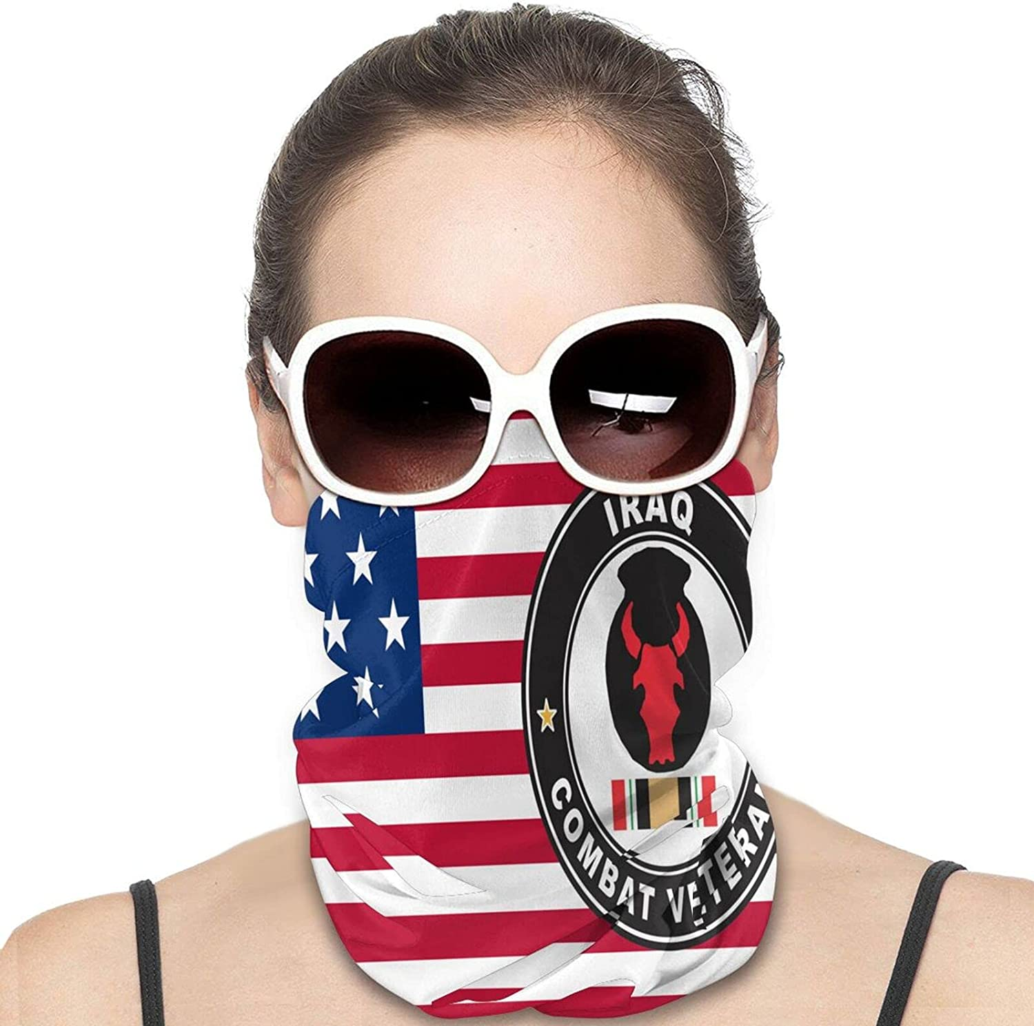 34th Infantry Division Iraq Combat Veteran Round Neck Gaiter Bandnas Face Cover Uv Protection Prevent bask in Ice Scarf Headbands Perfect for Motorcycle Cycling Running Festival Raves Outdoors