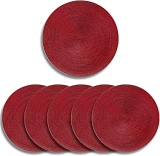 Deamos Braided Edge Round Placemats [Set of 6], 15 inch Woven Heat Resistant Non-Slip Kitchen Table Mats, Easy to Clean an...