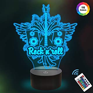 Rock & Roll Night Light 3D Illusion Lamp with 16 Colors Changing, Creative Unique Bedroom Music Room Decor for Guitar Music Fan