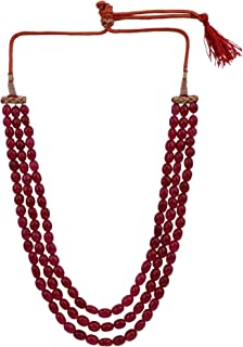 Archi Collection Fashion Jewellery Ethnic Ruby Multi Strand Mala Bridal Kantha Necklace for Women Girls