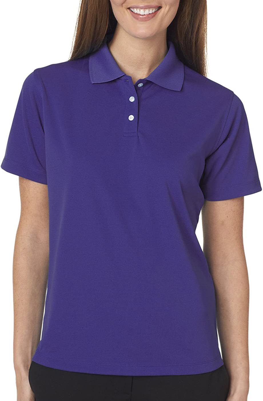 UltraClubs Women's Cool & Dry Stain-Release Performance Polo Tee, Purple, Small