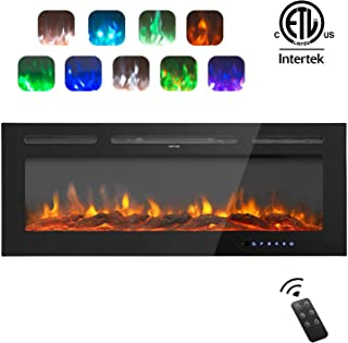 AuAg 50 inch Electric Fireplace 1500/750W Wall Mounted and Built LED Heater Room Heaters with Remote Control Temperature Adjustable Timer Multifunction 9 Flames Settings Log & Crystal 2 Decorations