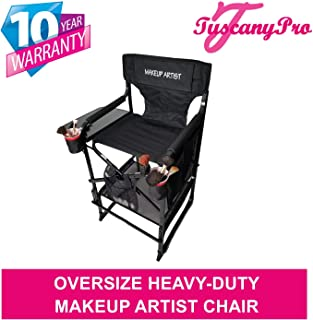 TuscanyPro Portable Big Daddy Heavy-Duty Makeup Artist Chair - Perfect for Makeup, Salon, Events with 29 Inch Seat Height - Carry Bag Included - 10 Years Warranty - US Patented