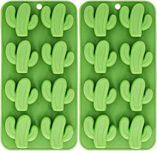 Fewo 8-Cavity Cactus Ice Cube Tray, Cacti Silicone Mold for Chocolate, Candy, Cookie, Fondant, Gummy, Jello, Baking, Candle, Cupcake Topper Decoration - Set of 2