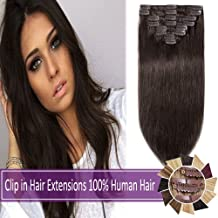 """10""""-24""""Remy Clip in Hair Extensions Human Hair 70g-120g Long/Short Length 8 Pcs 18 Clips Full Straight Human Hair Extensions Soft Silky (10"""