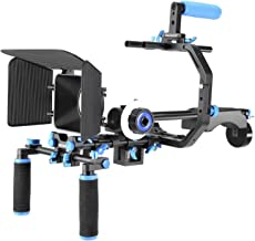 Neewer Film Movie Video Making System Kit for Canon Nikon Sony and Other DSLR Cameras Video Camcorders, includes: C-shaped Bracket,Handle Grip,15mm Rod,Matte Box,Follow Focus,Shoulder Rig (Blue+Black)