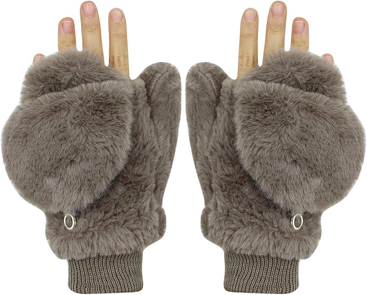 Women Girls Winter Warm Gloves Mittens Soft Faux Fur Wool Convertible Fingerless Gloves with Cover