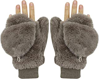 Women Girls Winter Warm Gloves Mittens Soft Faux Fur Wool Convertible Fingerless Gloves with Cover