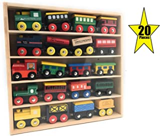 Oojami 20 pc Wooden Train Set - Magnetic Train Set Includes 5 Engines for Toddlers & Kids Boys and Girls - Compatible with Thomas, Melissa & Doug, Brio, Chugginton Wood Train Sets