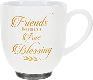 Pavilion Gift Company 75520 Friends Like You are A True Blessing 15.5oz Stoneware Coffee Cup Mug, 15.5 oz, White