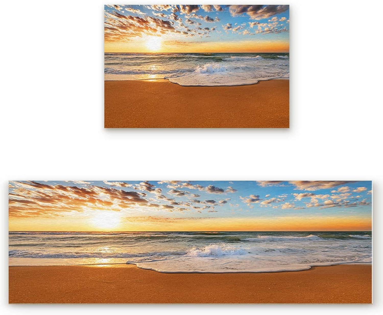 2 Piece Non-Slip Kitchen Bathroom Entrance Mat Absorbent Durable Floor Doormat Runner Rug Set - Ocean Theme Sand Beach Wave Sea Water Pattern