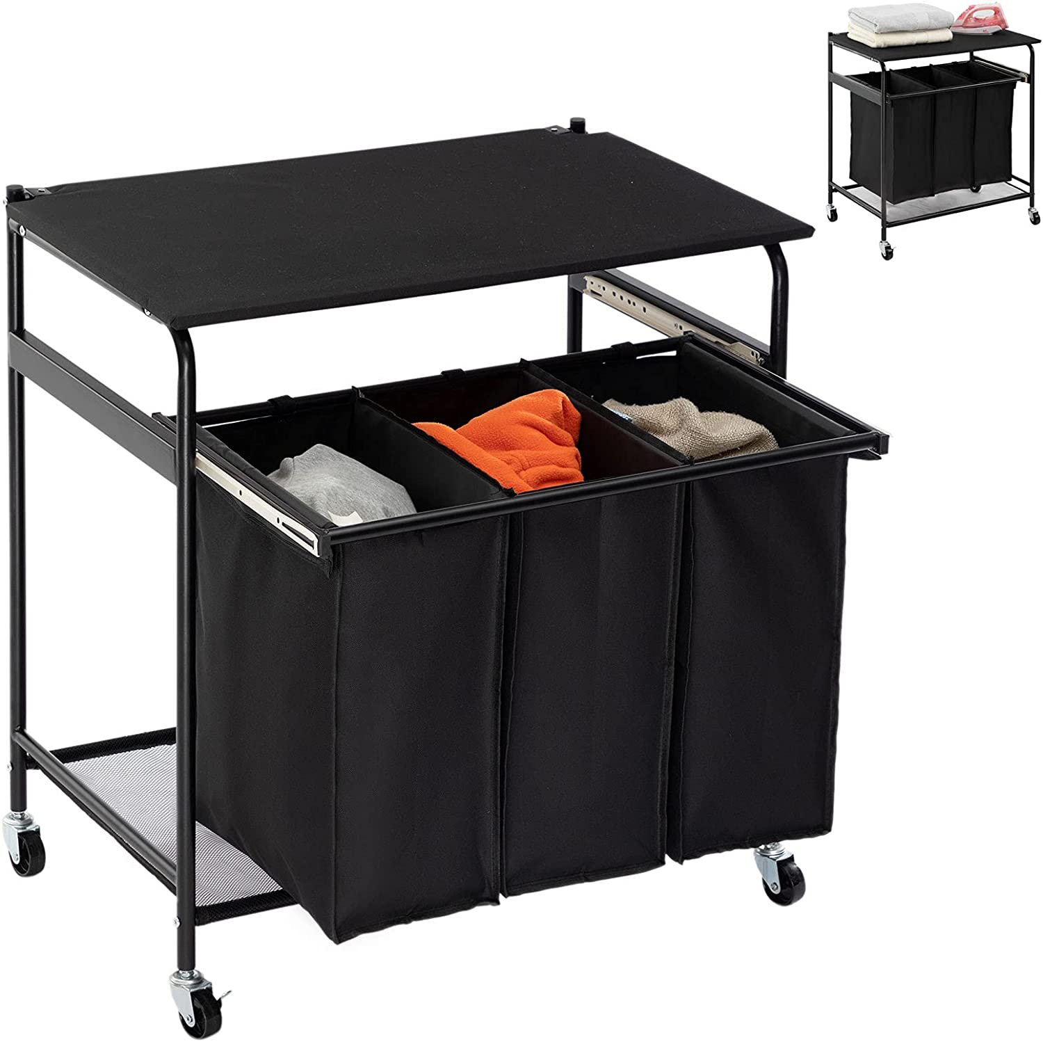 Don't miss the campaign PARANTA Laundry Sorter Cart with Ironing Board pull Side 3-Bag Industry No. 1 H