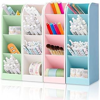 Lot de 4 porte-crayons - Multifonctionnel - Coloré - Pour organiseur, bureau - 16 emplacements pour stylos, gommes pour bu...