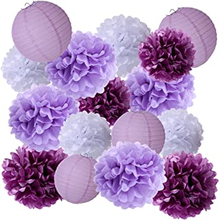 • 15Pcs Party Pack Paper Lanterns and Pom Pom Balls Hanging Decoration for Halloween Wedding Birthday Baby Shower-Light Pi...