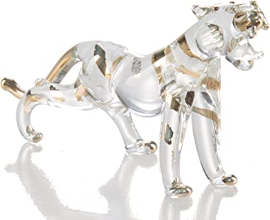 WitnyStore Glass Tiger Figurine - Collectible Animal Art Combination - Clear and Frosted Hand Blown Miniature Table Decor Col