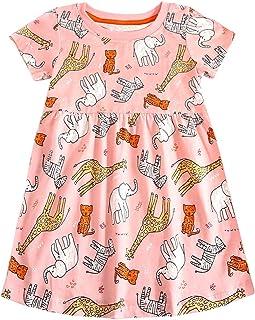 8f5863b36 Bumeex Little Girls Cotton Casual Cartoon Print Short Sleeve Skirt Dresses