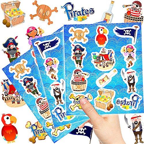 German-Trendseller  - 144 x Piraten Kinder Sticker - Set┃ Neu ┃ Mix ┃ Kindergeburtstag ┃ Mitgebsel ┃ Piraten Party ┃ 12 Bögen