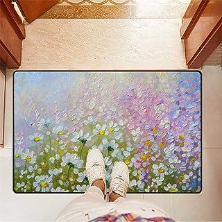Chic Houses Felpudo con diseño de margaritas y flores de margarita para baño, antideslizante, para puerta delantera, inter...