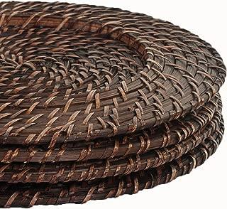 Koyal Wholesale Brick Brown Rattan Charger Plate, 4-Pack