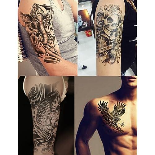 ca29e0829 Dalin 4 Sheets Temporary Tattoos, Warrior Elephant, Dead Skull, Koi Fish,  Eagle
