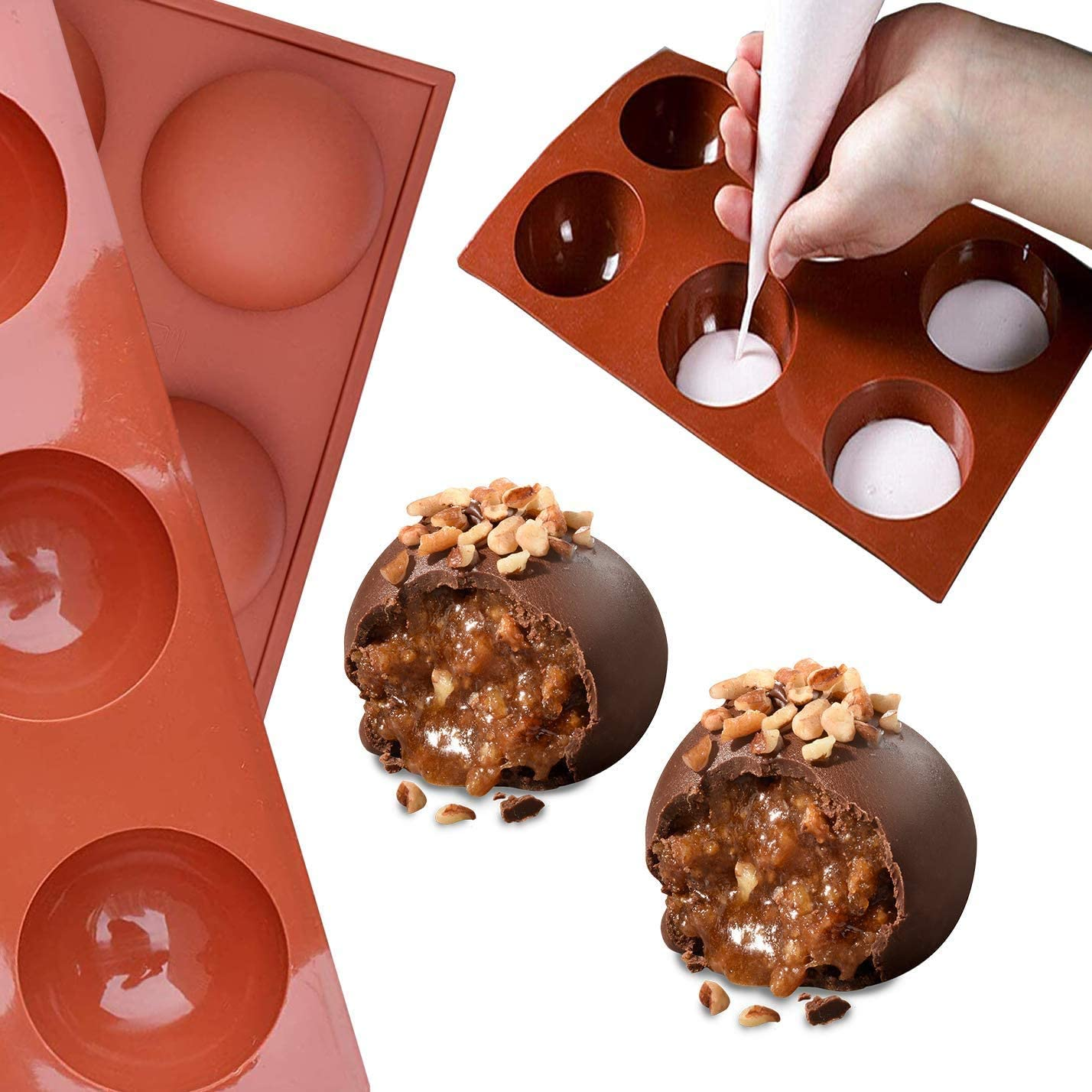 Medium Jelly Half Sphere Silicone Molds For Baking Cake 3 pcs 6 Holes Sphere Silicone Mold For Chocolate BPA Free Cupcake Baking Dome Mousse Silicone Molds for Making Chocolate