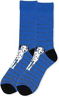 Novelty Blue Dalmatian Socks for Men, Men's Casual Crew Dress Dalmatian Dog Socks, Dalmatian Lover's Gift for Dad, Husband, Father, or Boyfriend