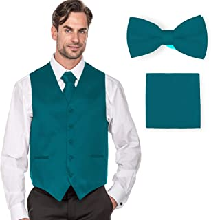 MILANO VICHEE Men's Plain Color Tuxedo Vest (4Pcs Set Vest+Tie+Hanky+Bowtie)
