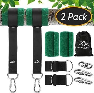 Awroutdoor Kit de Correas para Colgar de árbol, Hamacas Correas Cuerdas con mosquetón de Seguridad, 150 cm de Largo, Uso fácil y rápido, para Columpios y hamacas con Capacidad para 1000 LB