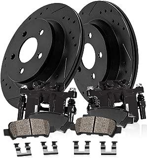 CCK02728 REAR Powder Coated Black [2] Calipers + [2] Black Powder Coated Rotors + [4] Ceramic Brake Pads