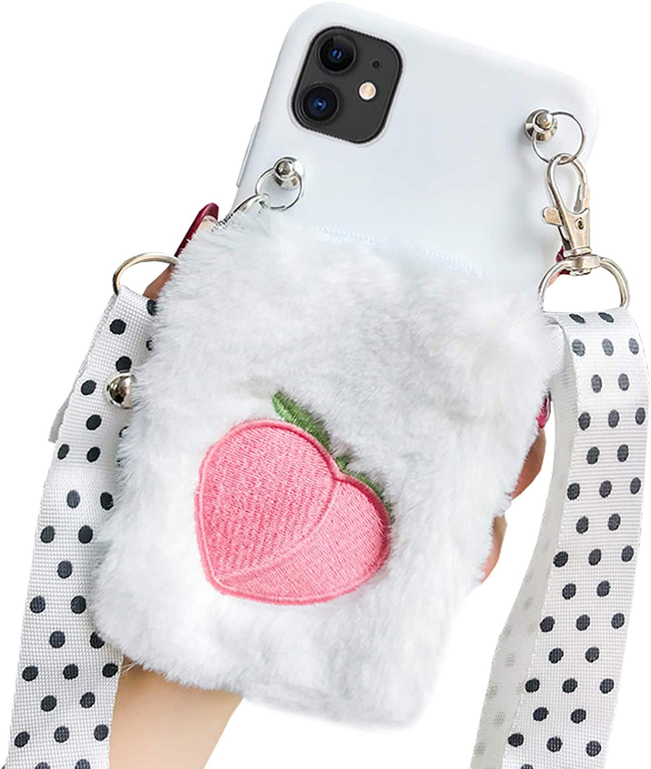 SGVAHY Fluffy Wallet Case for iPhone 7 Plus / 8 Plus, Cute Fur Peach Coin Purse Cover Case with Long Lanyard Ultra-Thin Soft Silicone Case Shockproof Protective Case (Peach, iPhone 7 Plus / 8 Plus)