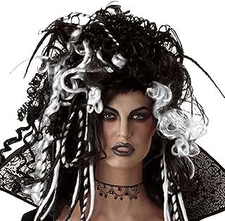 Fancy Dress VIP Ladies Black And White Wig Bellatrix Eternal Seductress Vampire Gothic Halloween Witch Dreadlock Fancy Dress Accessory