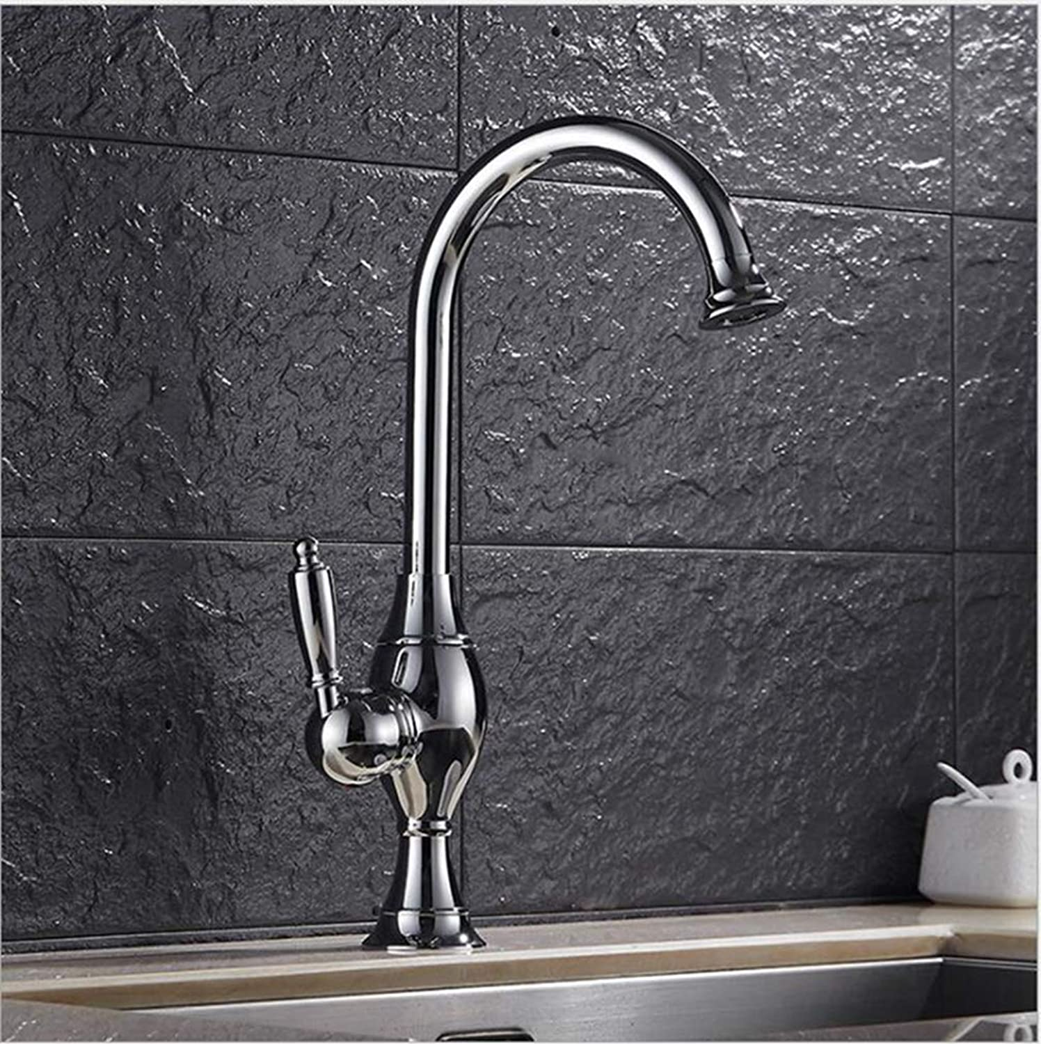 FZHLR Brass 360 Degree Brushed Nickel Or gold Chrome Kitchen Faucet Sink Faucet Luxury Water Tap Basin Faucet,Chrome