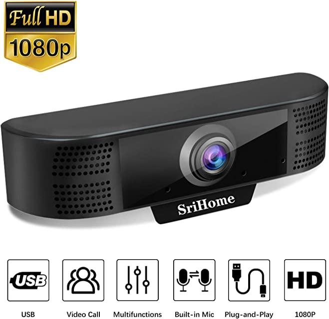 SriHome Webcam para PC Ordenador 1080P SH037 Cámara Web de Alta Definición para Videollamadas Videoconferencia Webcam USB Full HD Compatible con Skype FaceTime Hangouts Plug and Play