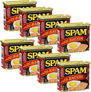 Spam Luncheon Meat Can, with Real Hormel Bacon, 12 Ounce (8 Count)
