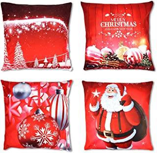 OWUDE Merry Christmas Pillow Covers 4 Pack, Super Soft Plush Cushion Covers Home Decorative Throw Pillow Cases for Living Room Study Bed Sofa, Red,18