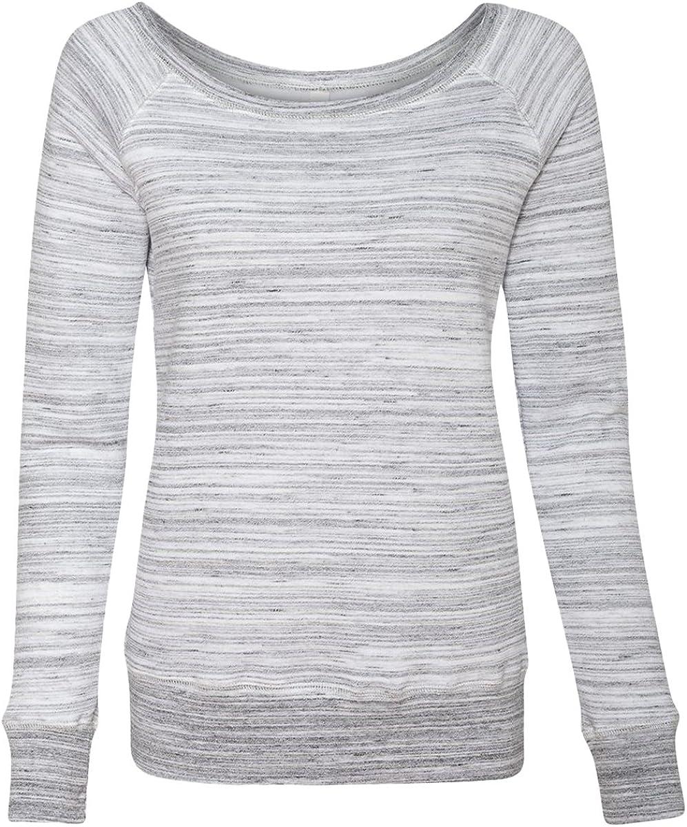 Bella Women's Sponge Wideneck Fleece Sweatshirt, Light Grey Marble Fleece, Small