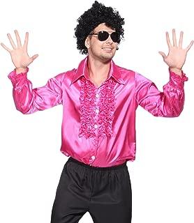 1970s Mens Disco Night Stag Party Metallic Ruffle Shirt Dance Fancy Dress Costume