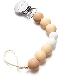Modern Pacifier Clip for Baby - 100% BPA Free Silicone Beads (Natural) Binky Holder for Newborn - Infant Baby Shower Gift - Universal fit MAM - Philips Avent