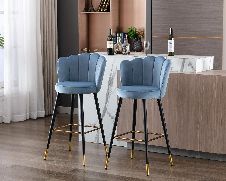 Buy CIMOTA Bar Stool Velvet Modern Kitchen Barstools with Back 9 ...