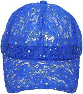 89fcf90943f Women s Lace Sequin Casual Bling UV Protection Vented Baseball Cap