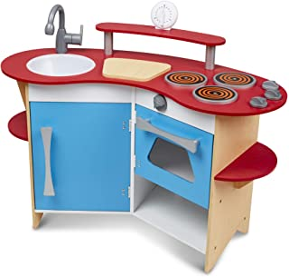 Melissa & Doug Juego imaginativo de cocina El rincón del cocinero, juguete de madera
