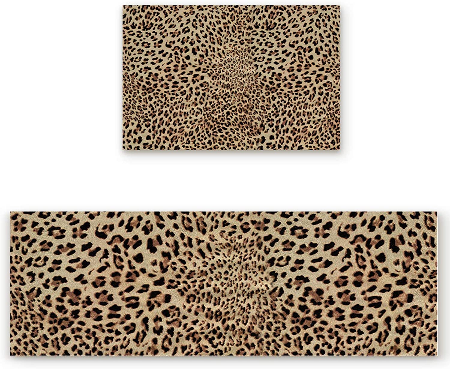 Savannan 2 Piece Non-Slip Kitchen Bathroom Entrance Mat Absorbent Durable Floor Doormat Runner Rug Set - Leopard Print