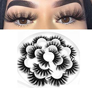 Faux Mink False Eyelashes 3D Fake Eyelashes Wispies Dramatic Look 25mm Long Eye lashes 100% Handmade Soft Thick Eye Extens...